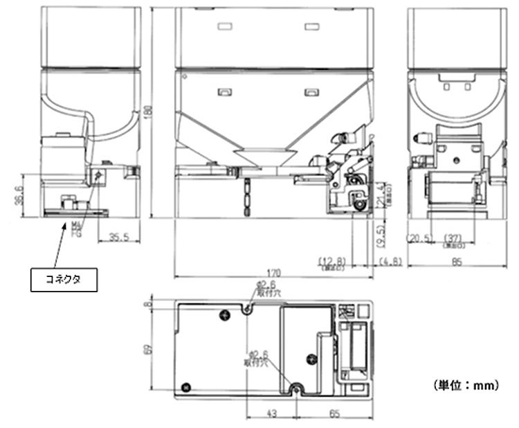CH-Fシリーズ外形寸法図(図は中容量タイプ)
