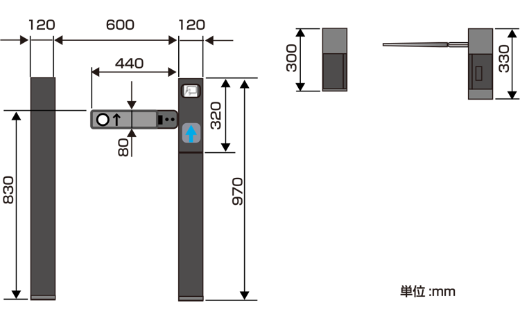 TAG-12000シリーズ外形寸法図