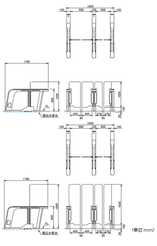 外形寸法図(架台埋め込み設置時)