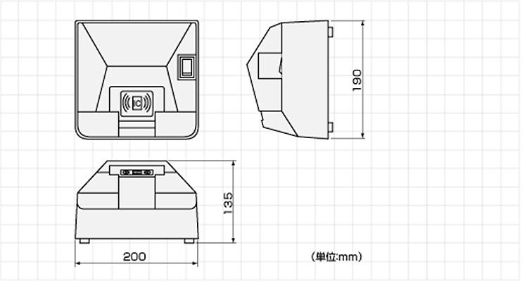 窓口発券機外形寸法図